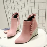 autumn winter womens ankle boots pointed toe wedge heel super high heels shoes ruffles rhinestones nubuck leather shoes sweet u7