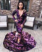 Sirène scintillante robes de bal 2020 Sexy à manches longues col en v Sequin africain noir fille femmes Gala robes de bal