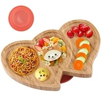 baby feeding bowl plate baby dinner plate with silicone suction cup bamboo wooden kids feeding dinnerware childrens tableware