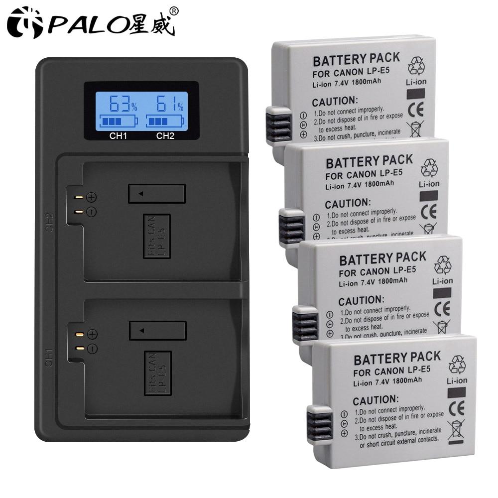Palo 1800mAh LP-E5 LPE5 LP E5 Battery for Canon EOS Rebel XS, Rebel T1i, Rebel XSi, 1000D, 500D, 450D, Kiss X3,X2, F + charger