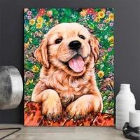 Golden Retriever     peinture de diamant 5D a faire bricolage-meme  broderie de chien en point de croix  mosaique danimaux  perceuse ronde complete  decoration de maison