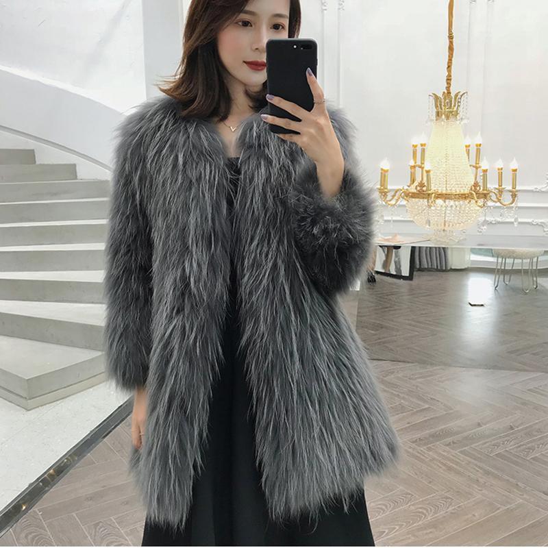 Women 2020 New Winter Real Raccoon Fur Coat Jacket Elegant Overcoats Female Fashion Warm Slim Genuine Natural Fur Outerwear T260