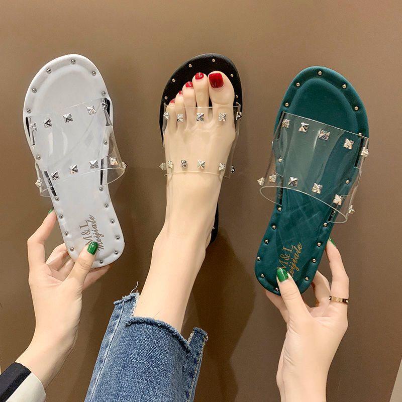 Sandalias chancletas para mujeres, zapatos de verano, suaves, transpirables, transparentes, remaches Peep Toe, Chanclas de playa, zapatillas planas para exterior para mujeres