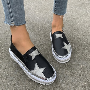 Comfort Women's Shoes Creepers Bling  Platform Loafers Mocassin Femme White Platform Shoes Casual Flat Heel Women's Sneakers