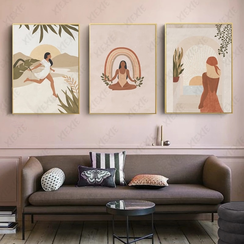 AliExpress - Modern Abstract Character Canvas Painting Girl Practicing Yoga Poster Nordic Style Art Print Picture Wallpaper Home Decoration