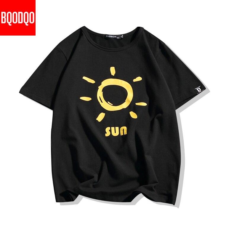 Camiseta masculina de algodão moda masculina verão sun print tshirts 5xl casual engraçado t camisa homem oversized novos topos & tees streetwear
