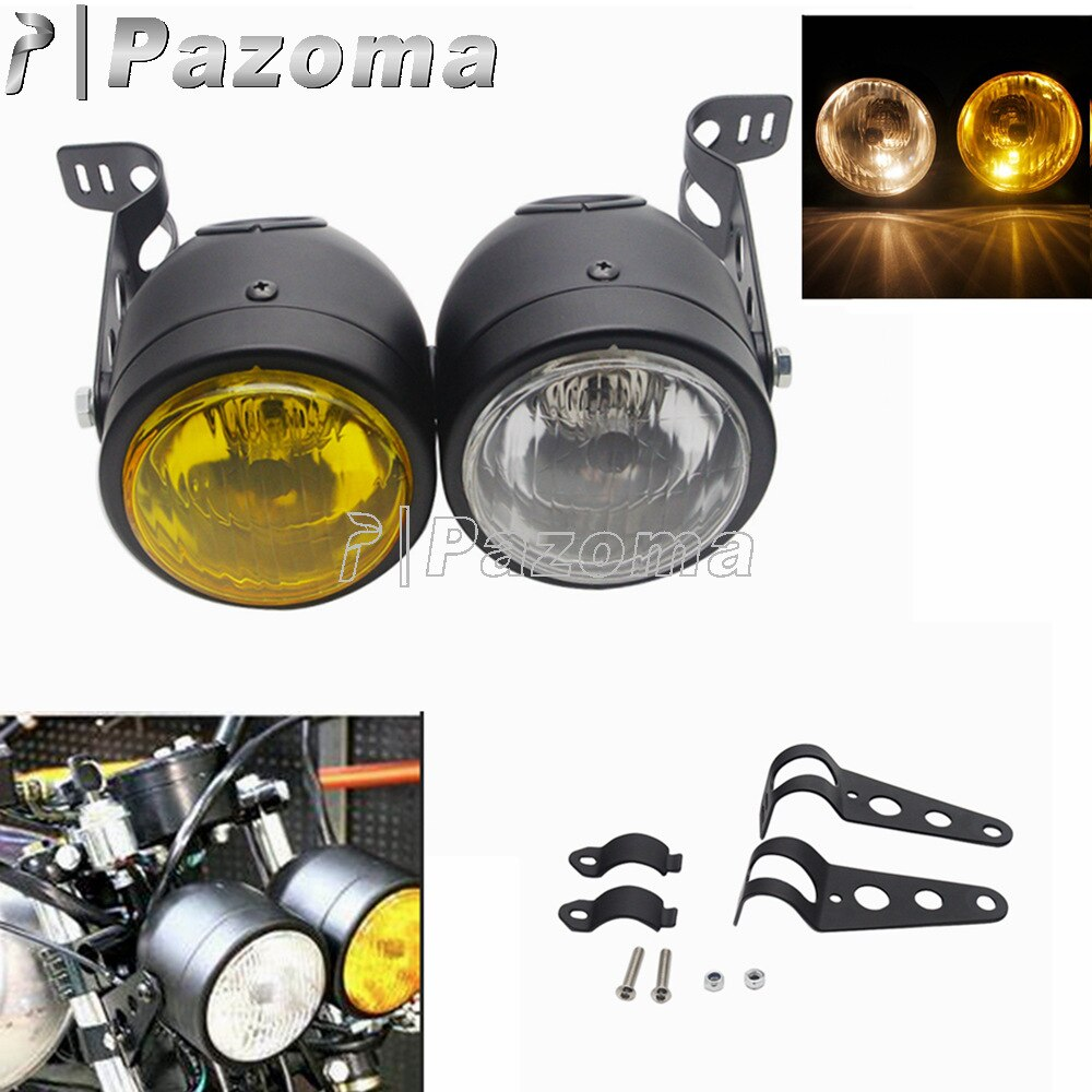 Motorcycle Twin Headlight Double Headlamp W/ Bracket Head Light Dual Lamp For Harley Street Boy Dual Sport Dirt Naked Cafe Racer