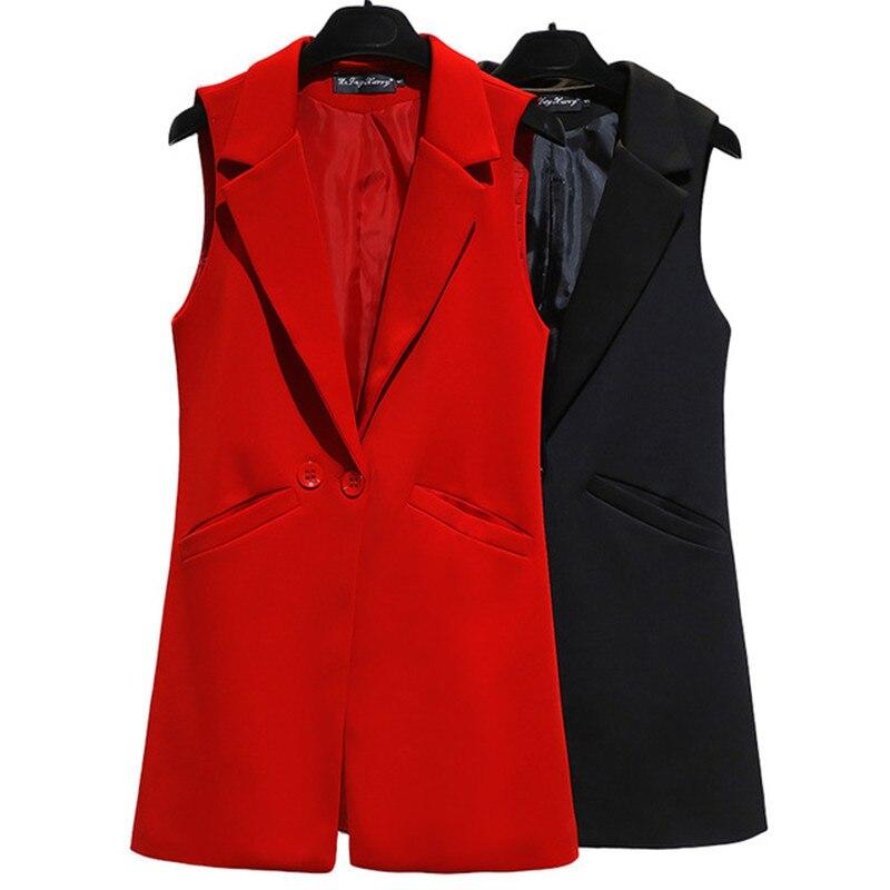 Chaleco para mujer sin mangas abrigo chaqueta chaleco largo trabajo Formal señoras ropa de oficina Casual moda delgada chaleco femenino talla grande