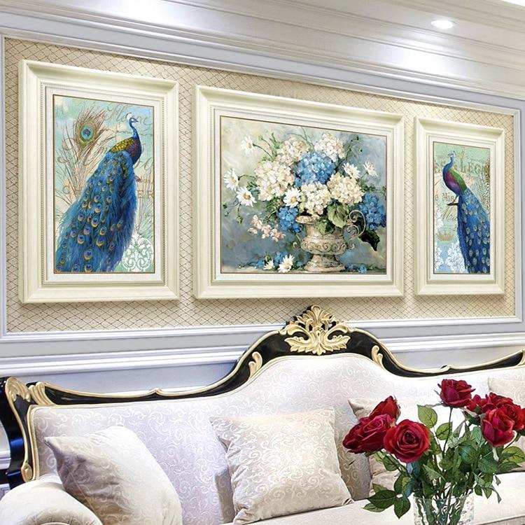Pintura de diamante 5d, punto de cruz, pájaro de la paz de Juno, Tríptico para decoración de sala de estar, imagen moderna fácil, regalos para decoración del hogar