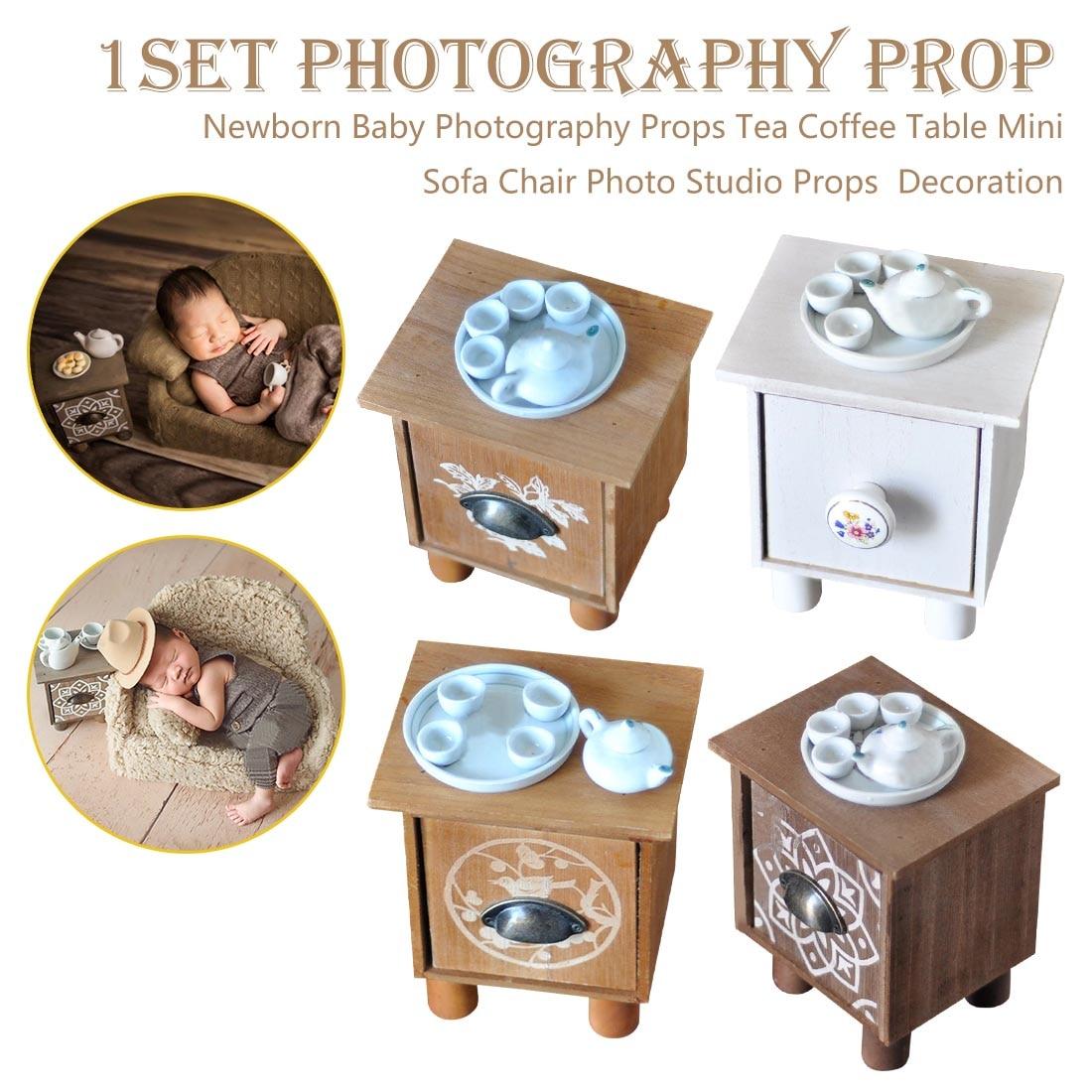 Utilería de estudio de tiro Infantil accesorios de fotografía de bebé recién nacido conjunto de té para mesa posando Mini silla Decoración Accesorios de fotografía