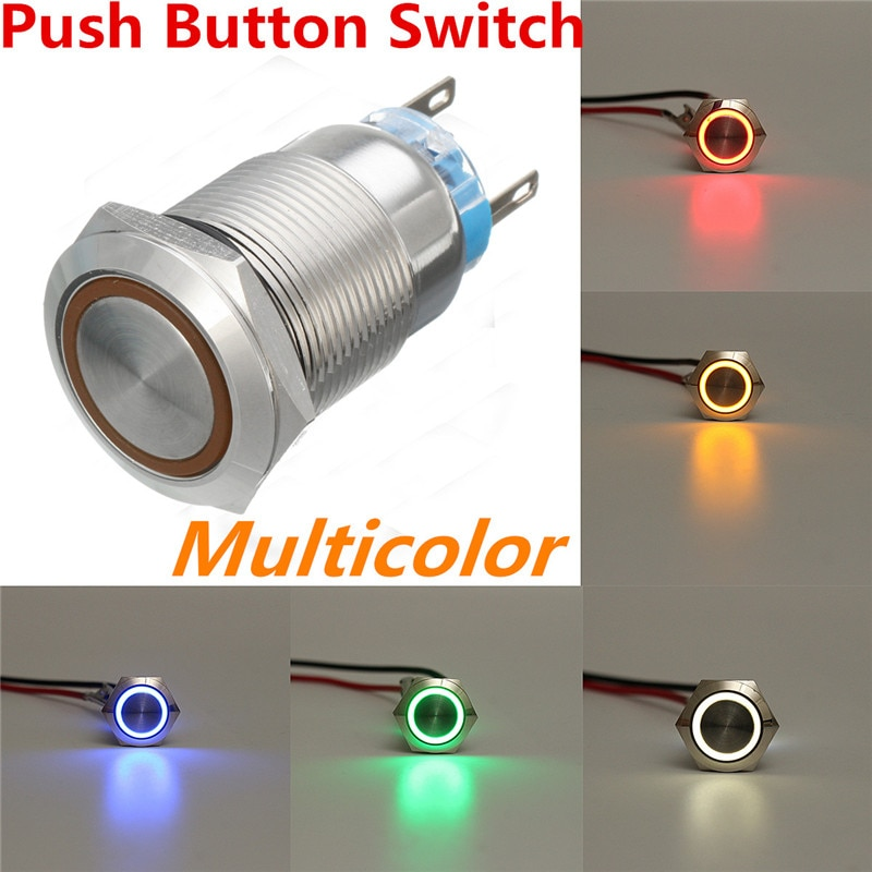 Interruptor de 19mm de potencia a prueba de agua eléctrico, anillo LED de Encendido automático, 12V, momentáneo, impermeable, 5 pines para coche, barco automático