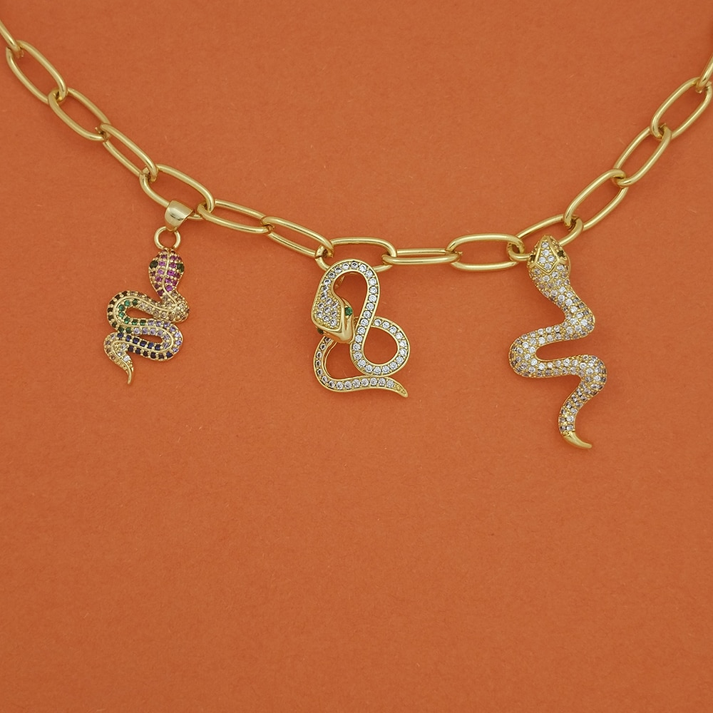 E-chica serpiente collar dorado con colgante gargantilla declaración collar de cadena de joyería de oro de 18 k collier femme ras de l envío gratuito