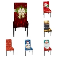 1 pcs xmas elastic dining room seat chair covers christmas chair cover stretch slipcovers for christmas banquet party decor