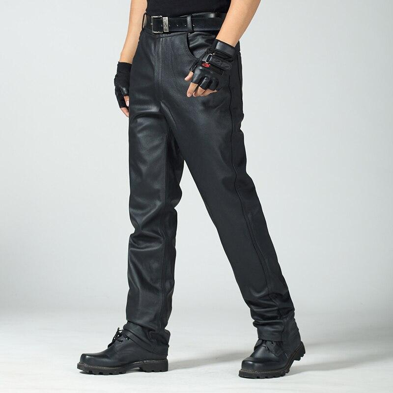 Genuine Leather Pants Men's Cowhide Leather Pants Autumn Winter Plus Size Warm High Waist Deep Crotch Personality Leather Pants
