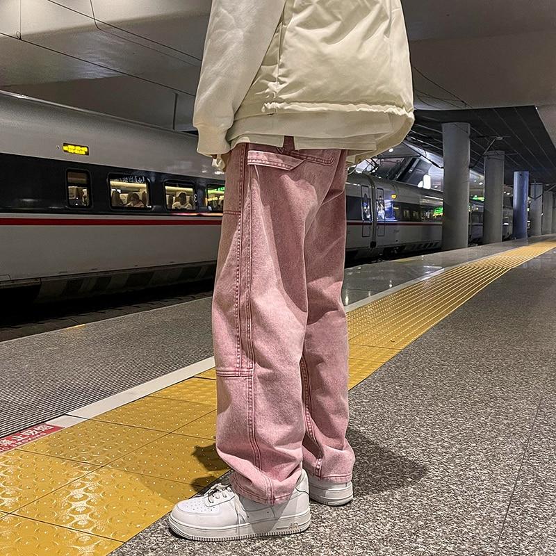 Men's Jeans New Loose Straight Jean Pants Men Solid Color Casual Pants Baggy Homme Cargo Jeans Denim Trousers Pink/Black/Blue