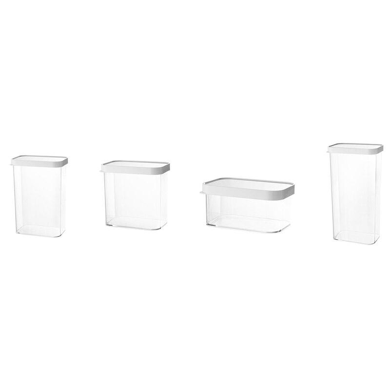 4 قطعة خزان تخزين المواد الغذائية التراص شفافة ، الثلاجة المنزلية مقاومة للرطوبة مختومة