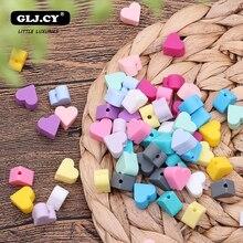 Mordedor de silicone para bebê 40 peças, coração, contas de silicone, dentição para bebês, acessórios diy, chupeta