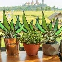 Mini plante artificielle daloes Agave coloree en pot  fausse herbe coloree  feuilles vertes  bassin decoratif pour maison  rebord de fenetre  decor de jardin