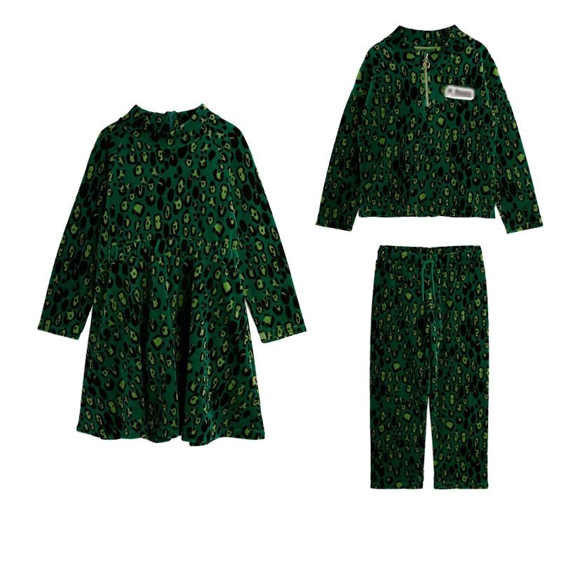 (الشحن في أوائل أكتوبر) لكل-بيع 2021 الشتاء MR السترات واللباس للطفل فتاة الملابس الخضراء ليوبارد بنين معاطف وسراويل