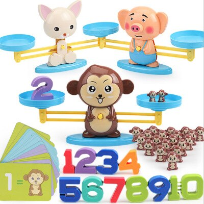 Early Learning Balance Math Match Game Board Toys Monkey Digital Scale Toy Educational Addition Subtraction