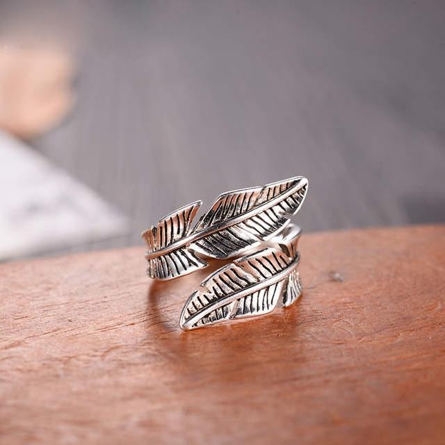 Женские-кольца-в-стиле-бохо-регулируемые-антикварные-кольца-из-серебра-2020-пробы-с-перьями-925