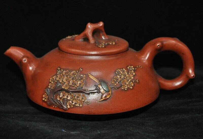 wedding decoration Chinese Yixing Zisha pottery Plum blossom flower bird Tea Pot Flagon Tanks Crock