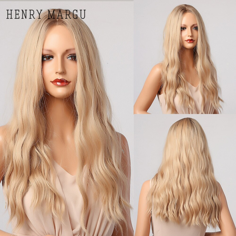 HENRY MARGU Long Wavy Blonde Ombre Synthetic Wigs Natural Middle Part Wigs for Women Daily Cosplay Hair Wigs Heat Resistant