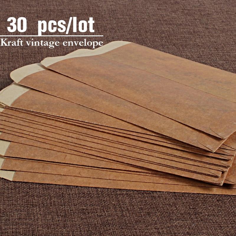 Конверты винтажные крафтовые 30 шт./лот, свадебные приглашенные конверты, бумажные Канцтовары Zakka, конверты для приглашения в подарок