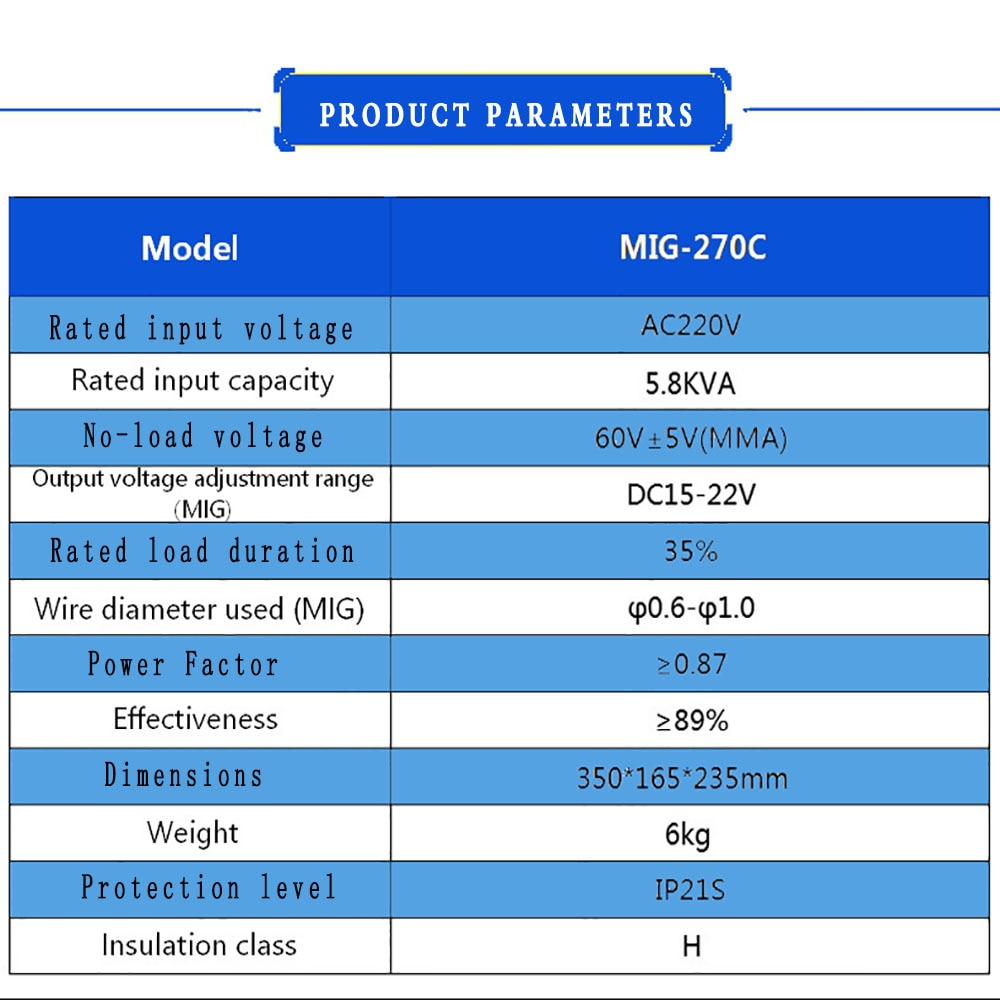 270A Portable Welder 4 in 1 Welding Machine IGBT Inverter Synergic TIG MMA MIG Gas Gasless Flux Core Solid Wire Welding Machine enlarge