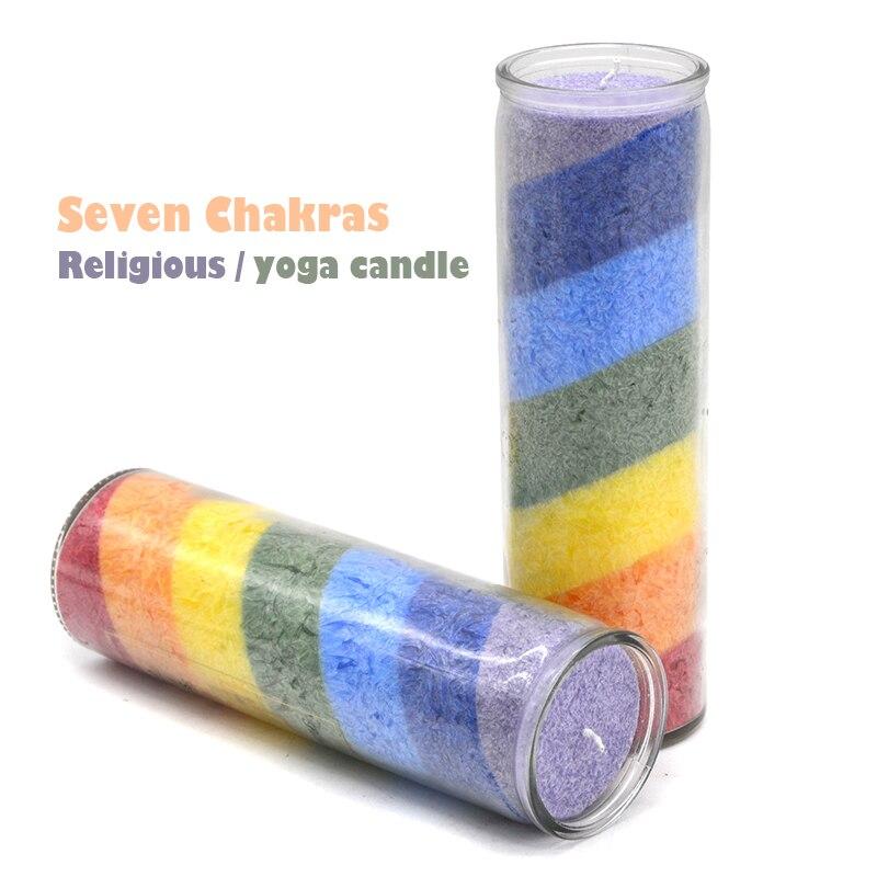 2 pçs/lote colorido religioso magia vela adivinhação religiosa vela de vidro igreja vela de sete camadas chakra arco-íris 7-dia vela