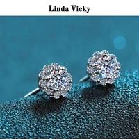 linda vicky 925 silver earrings 100real moissanite 0 30 5ct vvs jewel stud women fashion jewelry wedding precious gift 2021new