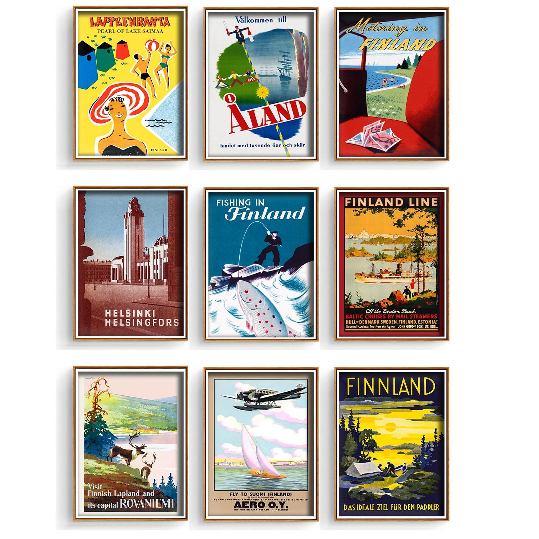 Скандинавское искусство, Финское искусство, путешествия, рыбалка, моторизование, Картина на холсте, винтажная крафт-картина, детский плакат...
