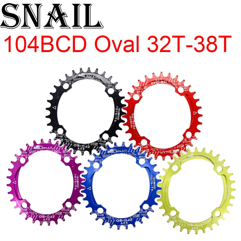 Cadena de Caracol 104 BCD ovalada 32T 34T 36T 38T, cadena de cadena para bicicleta de montaña, anillo de cadena, rueda dentada 104BCD