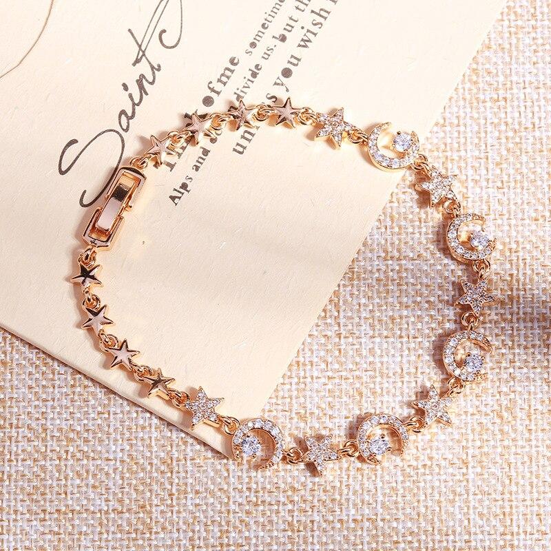 Cristal estrella Luna pulsera del encanto para las mujeres romántico pulseras y brazalete de moda accesorios para fiesta, joyería regalo delicado pulsera