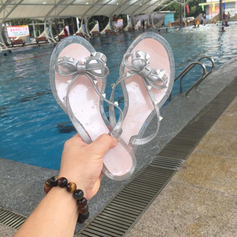 Vallu2019 novo flip-flops jelly sapatos arco rebites antiderrapante flat bottom clip toe chinelos de praia verão sapatos tamanhos grandes