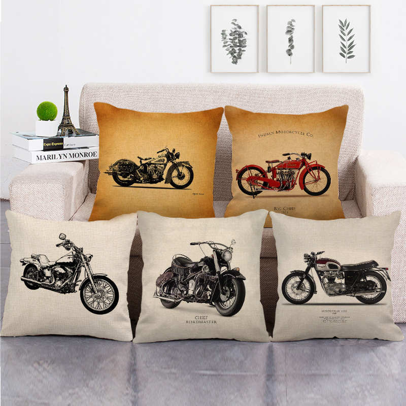 Decorative Cushion Cover For Chair Industrial Style Motorcycle Printed Pillowcase Home Decor Sofa Living Room Throw Pillow Cover