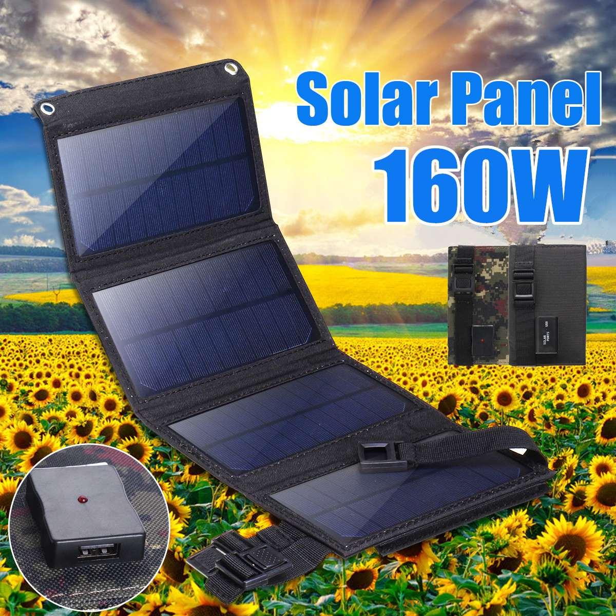 160 واط لوحة شمسية قابلة للطي 5 فولت شاحن محمول ببطارية USB ميناء في الهواء الطلق مقاوم للماء قوة البنك للهاتف الكمبيوتر سيارة RV قارب