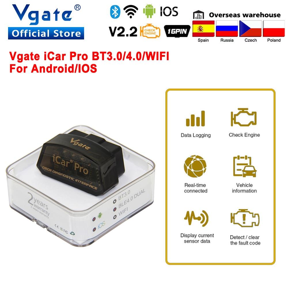 Vgate iCar Pro ELM 327 Bluetooth 4.0 OBD2 Car diagnostic Scanner OBD 2 WIFI elm327 V2.2 Auto Scan Tool ODB2 For Android/IOS