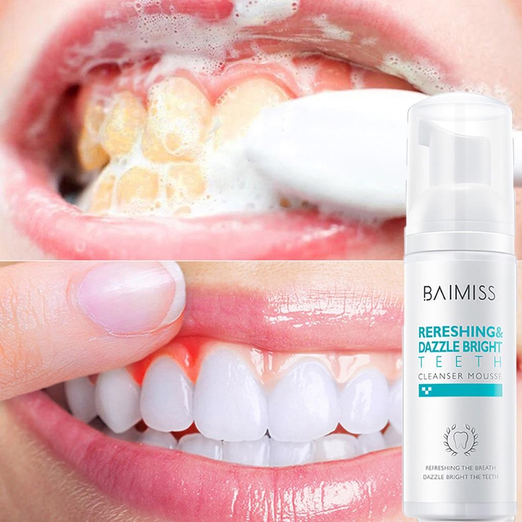 Limpeza de mousse creme dental higiene oral remove manchas de placa para cuidados orais limpeza de dentes eco cuidados com os dentes beleza segura