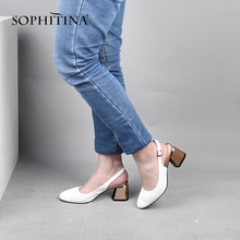 SOPHITINA été femmes nouvelles pompes bout pointu talon carré haut dos sangle dame chaussures à la mode en peau de mouton escarpins décontractés SC632