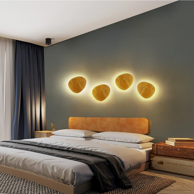 modern macaron led wall lamp nordic wrought iron lamps creative background decorative wall lamps loft living room wall lights Modern Wall Light  Solid wood LED wall lamps for Bedroom Living Room corridor wall lamp in the background