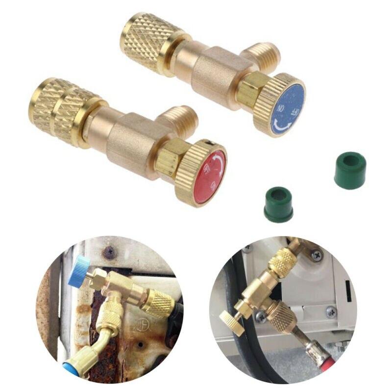 """Adaptateur de charge de réfrigération, soupape de sécurité en or adaptateur en cuivre pour climatisation R22/R410A 1/4 """"soupape de sécurité"""
