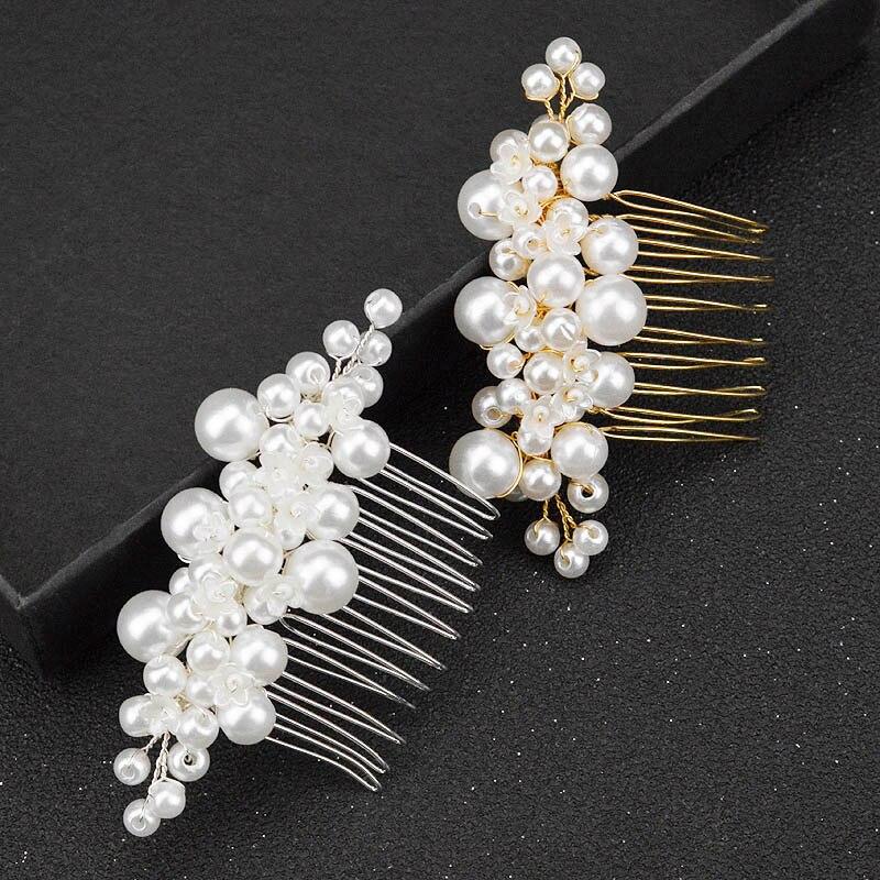 Feminino ouro e prata pérola pente de cabelo artesanal tiara nupcial casamento prata flor hairpin moda princesa jóias cabeça pente