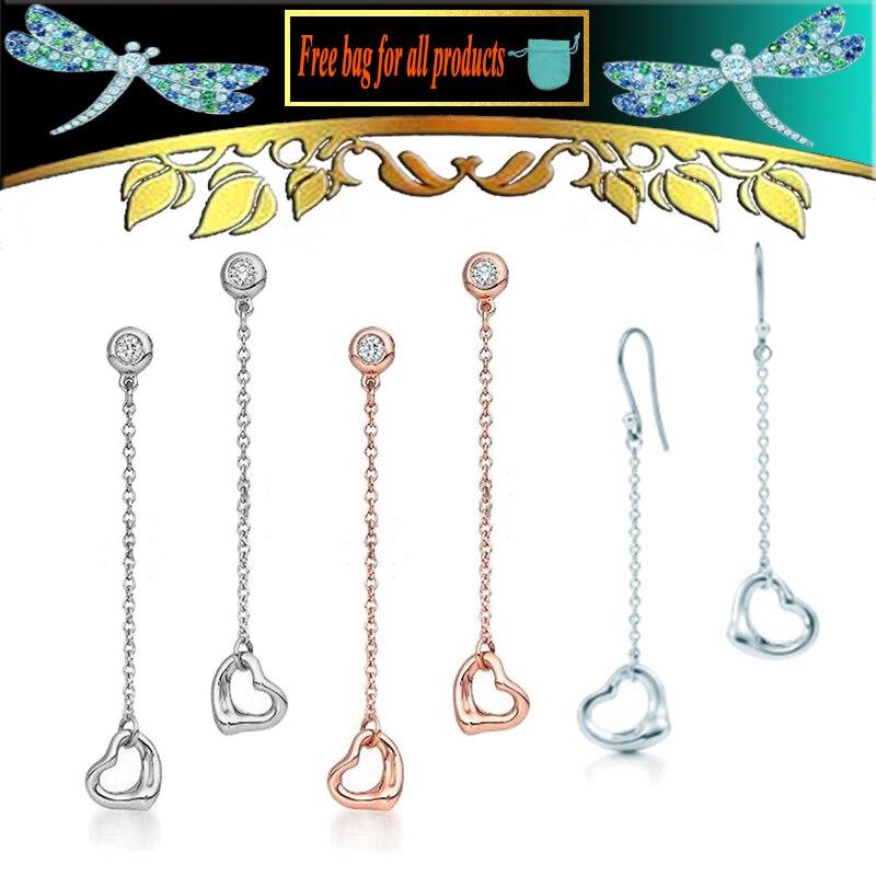 Feminino jóias finas zircon parafuso prisioneiro s925 prata esterlina clavícula corrente recorte amor coração brinco presente do dia dos namorados