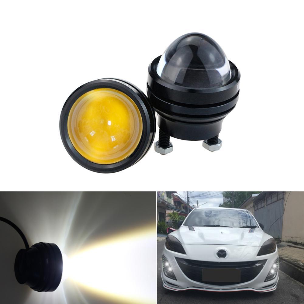 LEADTOPS 2 uds LED luz del coche ojos de diablo + ojos de Ángel de la lente con lente DRL niebla lámparas Super BrightAluminum impermeable DC12V CA