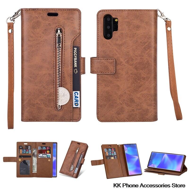 Funda cartera con cremallera para Samsung Note 10 Plus 9 8 A70 A50 A60 A40 A20E A7 Funda de cuero con tapa para Samsung S10 S9 S8 más S10e