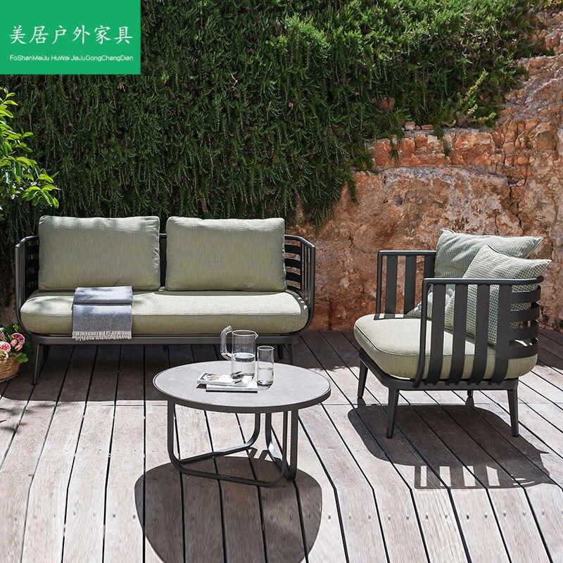 مقاوم للماء واقية من الشمس أريكة في الهواء الطلق طاولة شاي شرفة الزاوية مزدوجة ثلاثة الباحة سبائك الألومنيوم كسول الناس فناء