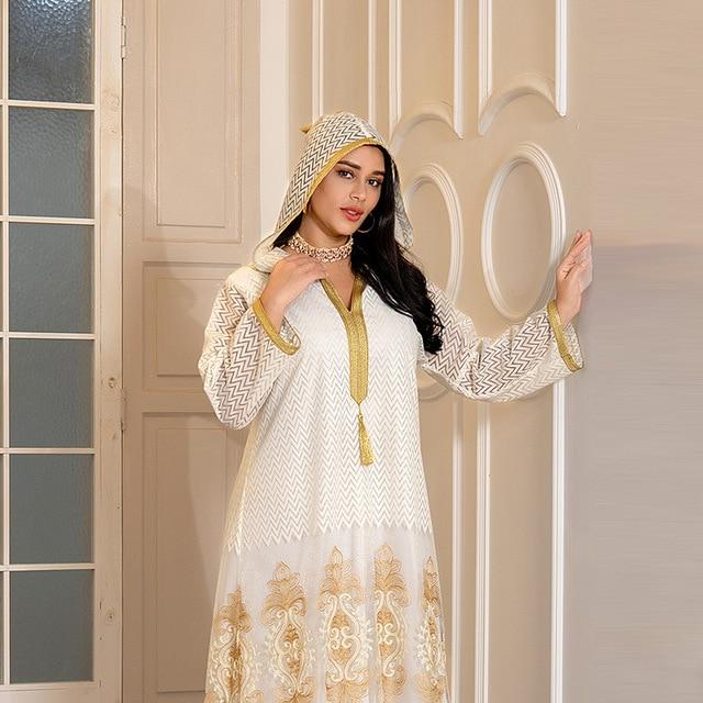 Middle East Muslim Islamic Eid Al-Adha Festival Gurban Gold Embroidered Hooded Net Yarn Big Tunic Dubai Arab Women's Clothing 4