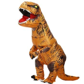 Costume de déguisement cosplay pour enfant et adulte, habillement de fête gonflable de dinosaure T-REX, accessoire d'halloween, d'anime, mascotte fantaisie pour le dessin-animé Dino