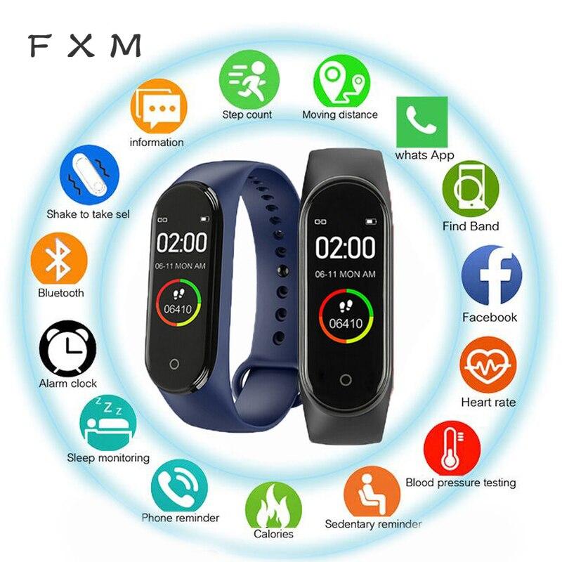 FXM M4 hombres mujeres nuevo inteligente de alta calidad nueva etiqueta cinturón deportes presión arterial pulsómetro Monitor reloj Monitor impermeable Fitness